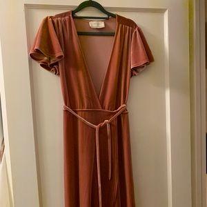 BHLDN thrive velvet wrap dress